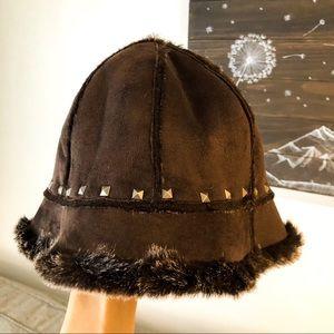 Cejon Winter Hat Faux Suede Faux Fur Brown Studs